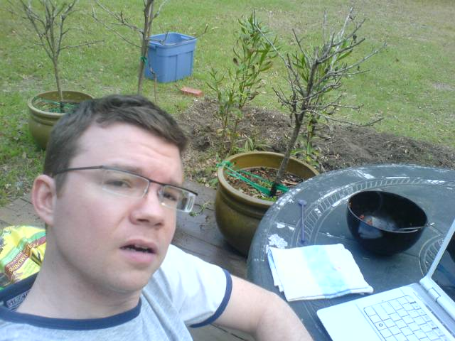 Me being a dork in my garden in 2008.