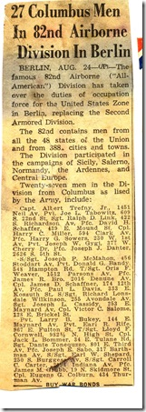 Important News Clipping 82nd Airborne August 24 year unknown